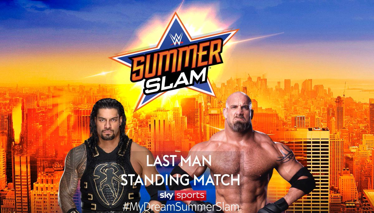Another INCREDIBLE #MyDreamSummerSlam match-up thanks to @MHussein9911!  Question is, who do you think would be the last man standing here, @Goldberg or @WWERomanReigns?<br>http://pic.twitter.com/hLxFP5ooAV
