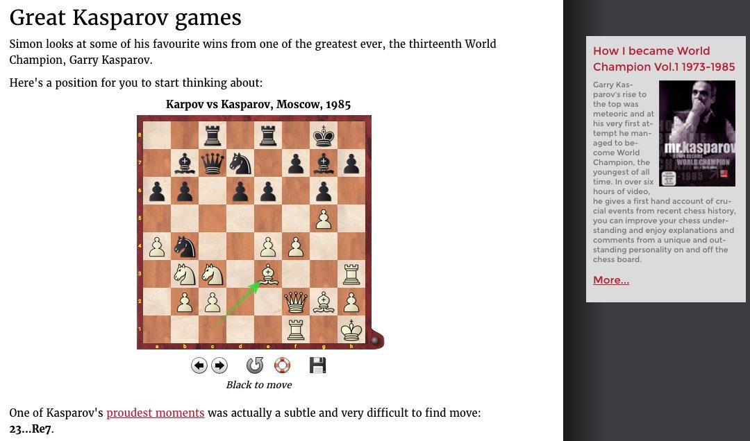 Simon Says — Kasparov&#39;s greatest victories is available for FREE this week as @ginger_gm enjoys some @Kasparov63 classics!  https:// en.chessbase.com/post/simon-say s-2018-08-13 &nbsp; …  #ChessBase<br>http://pic.twitter.com/9tSd0EqWUK