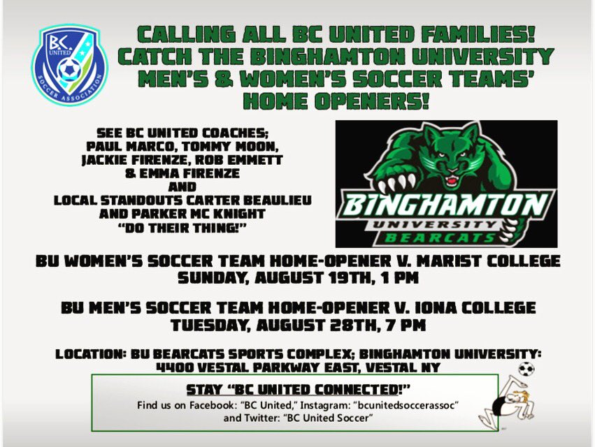 While Our BC United Players Tear Up the Fields in Fall Programs, Some of Our BC United Coaches Are Busy at Work Too! Catch the Binghamton University Men&#39;s &amp; Women&#39;s Soccer Home Openers. Go Bearcats!   <br>http://pic.twitter.com/ylqAI4rq0H