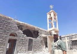 Left a picture of the Samma Al-hniedat church in #Daraa countryside under regime control, after regime damaged it heavly.  Right a picture of a church in #Idlib countryside under rebel control, it is manitained well by the white helmets. <br>http://pic.twitter.com/HnZpUnzLGV