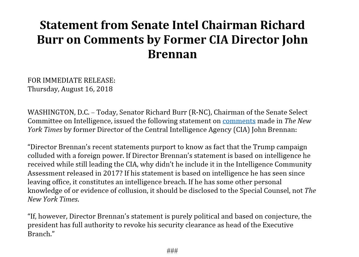 Senate Intel Chairman, Richard Burr is defending President Trump. I believe this is a remarkable turn in the tides of Washington affairs and may well represent the beginning of the end of the Mueller Witch Hunt. @realDonaldTrump #AmericaFirst #Dobbs