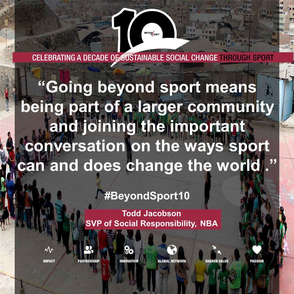 test Twitter Media - The @nba's Todd Jacobson believes sport can bring communities together, break down barriers & serve to connect people of all backgrounds, particularly youth, in unique ways that create commonality. What does going #BeyondSport mean to you?  https://t.co/5XiYaqmz26 #beyondsport10 https://t.co/KfYemc0h8z