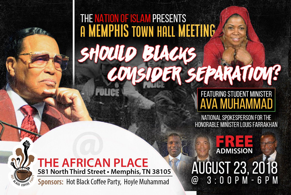 I&#39;m coming to hear from you Memphis! It is time that we deal with #Separation as a solution! A Town Hall Meeting on August 23rd. <br>http://pic.twitter.com/F9VK1076LL
