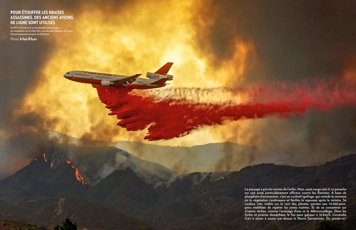 A photo shot by me of a DC-10 making a fire retardant drop over #HolyFire  in #Lake Elsinore, gets great play in @ParisMatch. @latimes @latimesphotos @pixtakerirfan<br>http://pic.twitter.com/ENDpj2weco