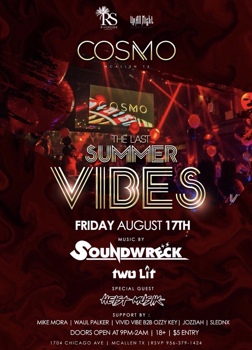 TOMORROW we end the summer with the last #SummerVibes w/ @soundwreck_ &amp; @WeAreTwoLit  + Special Guest @Heist_Musik!   #like + #rt for a chance to get on guest list!<br>http://pic.twitter.com/6WDk7sSEGD
