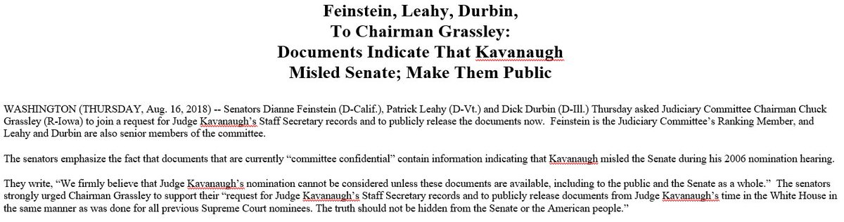 BREAKING NEWS From @SenFeinstein , Senator Leahy, And @SenatorDurbin : Documents Indicate That Kavanaugh Misled Senate; Make Them Public https://t.co/F01d23wMf7