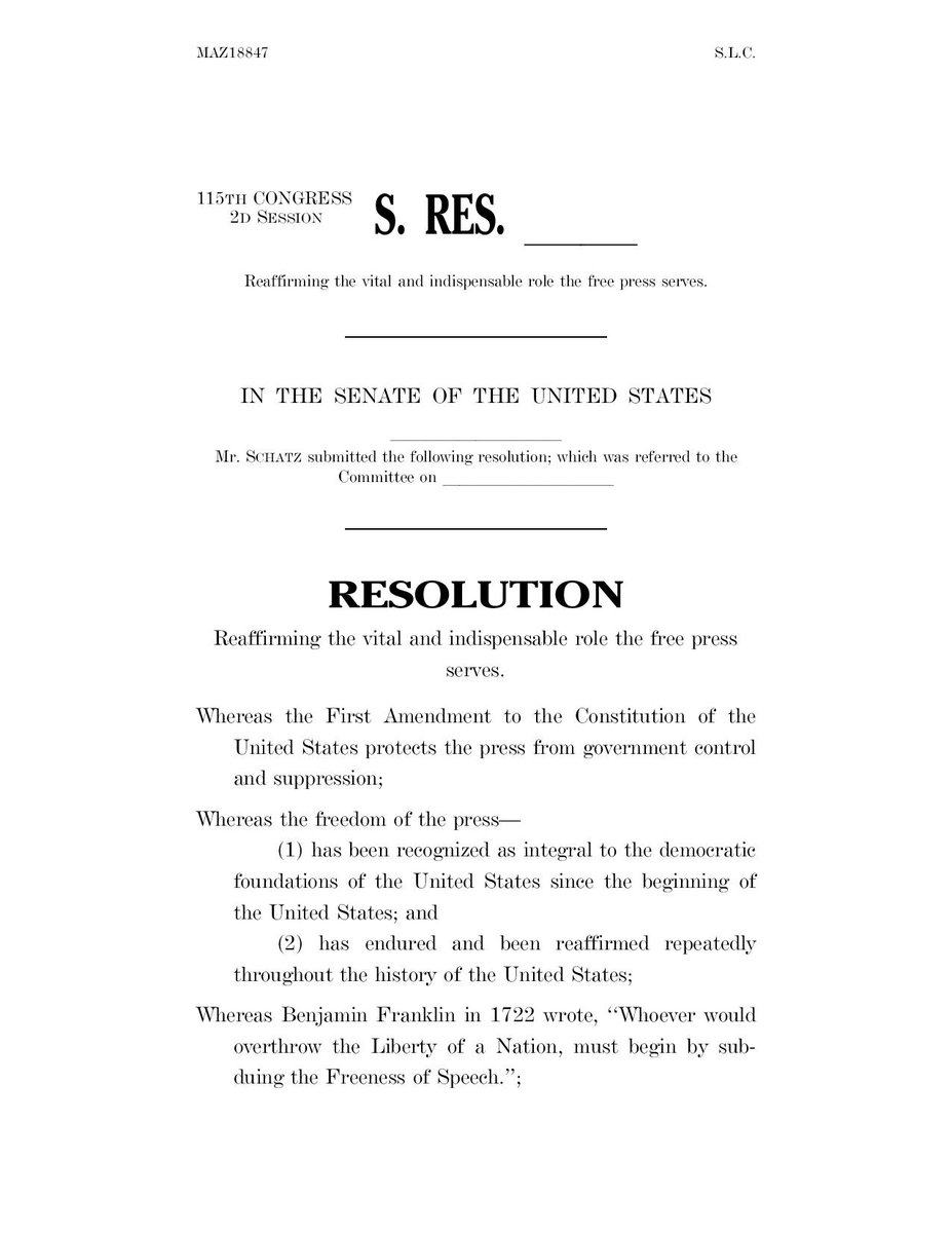 "JUST IN: US Senate passes resolution with unanimous consent by voice vote that ""affirms that the press is not the enemy of the people"" and ""reaffirms the vital and indispensable role that the free press serves"" and ""condemns the attacks on the institution of the free press."""