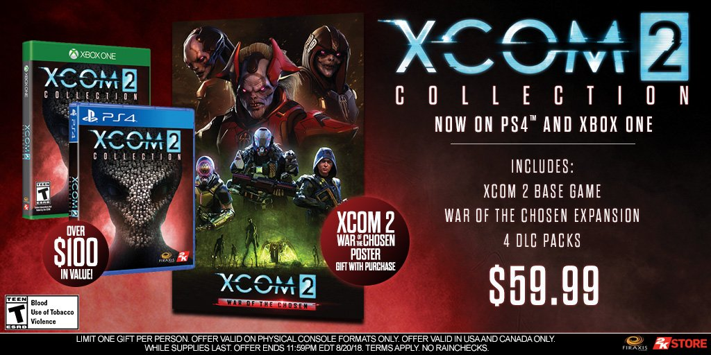 Pick up the #XCOM2 Collection on#PS4 or#XboxOne at the @2K Store and we&#39;ll toss in this poster. Act fast, offer available for a limited time! US only.   https:// 2kgam.es/2Mfv0wS  &nbsp;  <br>http://pic.twitter.com/IbLvMep61t
