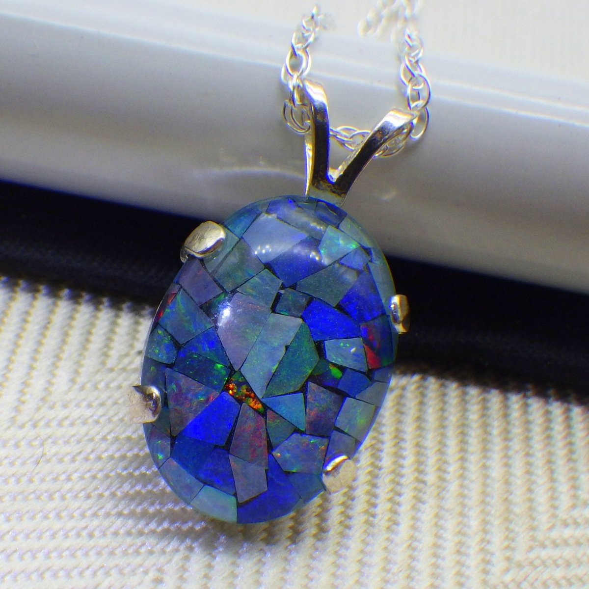 Excited to share the latest addition to my #etsy shop: Vintage Australian Opal Mosaic Pendant Necklace, Sterling Silver Mounting and Chain, Genuine Opal, 18x13 Size, Ladies Jewelry, Gemstones,  https:// etsy.me/2nIvlcM  &nbsp;   #jewelry #necklace #blue #silver #women #opal<br>http://pic.twitter.com/XeSBwp6y4r