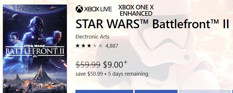 Star Wars Battlefront II on sale for $9 (85% off) on Xbox   http:// bit.ly/2Pa6D1s  &nbsp;  <br>http://pic.twitter.com/QSMXlmZ074