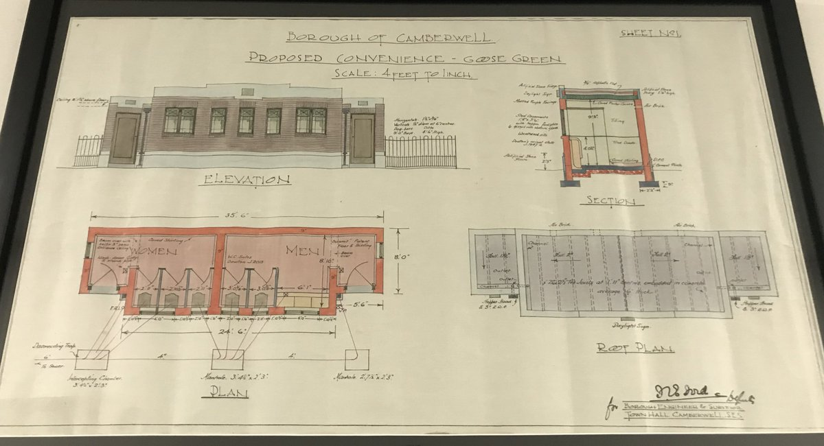 I see @MunicipalDreams is back on his second favourite subject of public toilets.  Here is something still hanging on the walls of the former Camberwell Town Hall - plans for a Camberwell municipal lav... <br>http://pic.twitter.com/7KzwbshLou