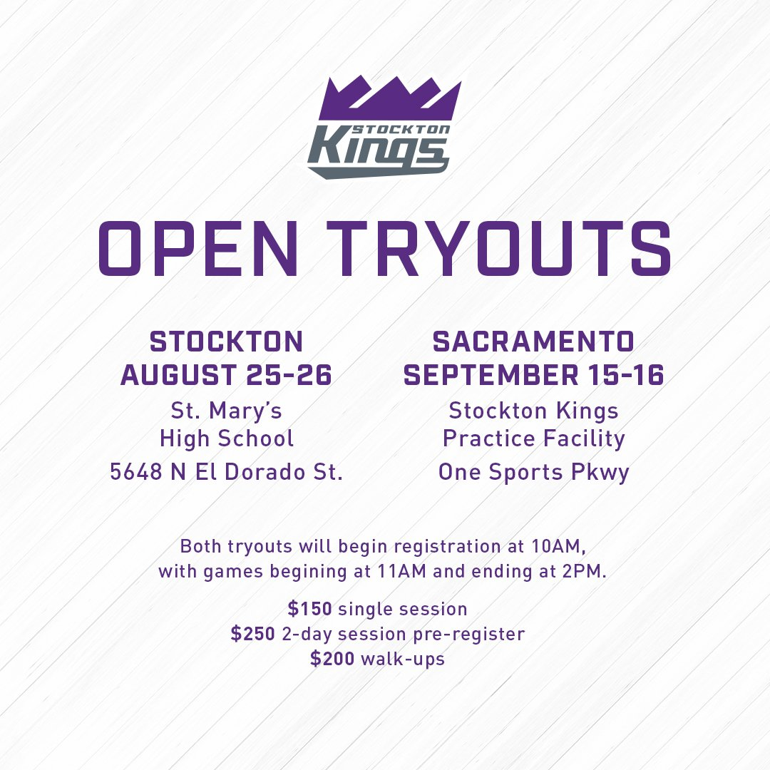 🗣 Calling all ballers 🗣  Open Tryouts for the Stockton Kings are on the way!   Sign up now for the chance to live out your basketball dream » https://t.co/H8RrPpGfT8 https://t.co/6HFSxfN6Xt