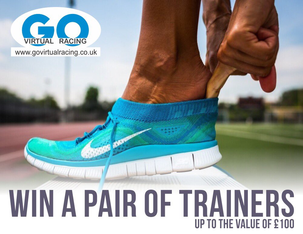 RT this &amp; follow @GoVirtualRacin  to be in the Sunday 19th August 9pm draw to win a pair of trainers worth £100. 1 winner. #ukrunchat<br>http://pic.twitter.com/RjYkGPnFQF