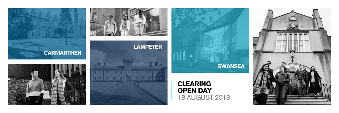 Come to our #Clearing #OpenDay on Saturday (August 18) for 2018 entry.   https://www. uwtsd.ac.uk/clearing/  &nbsp;   @UWTSD #Swansea #Carmarthen #Lampeter  Call us on 0300 323 1828 to discuss your course options - Clearing and new applicants. #university #alevelresults2018 #StandOut with #UWTSD <br>http://pic.twitter.com/LqnZmWhEax