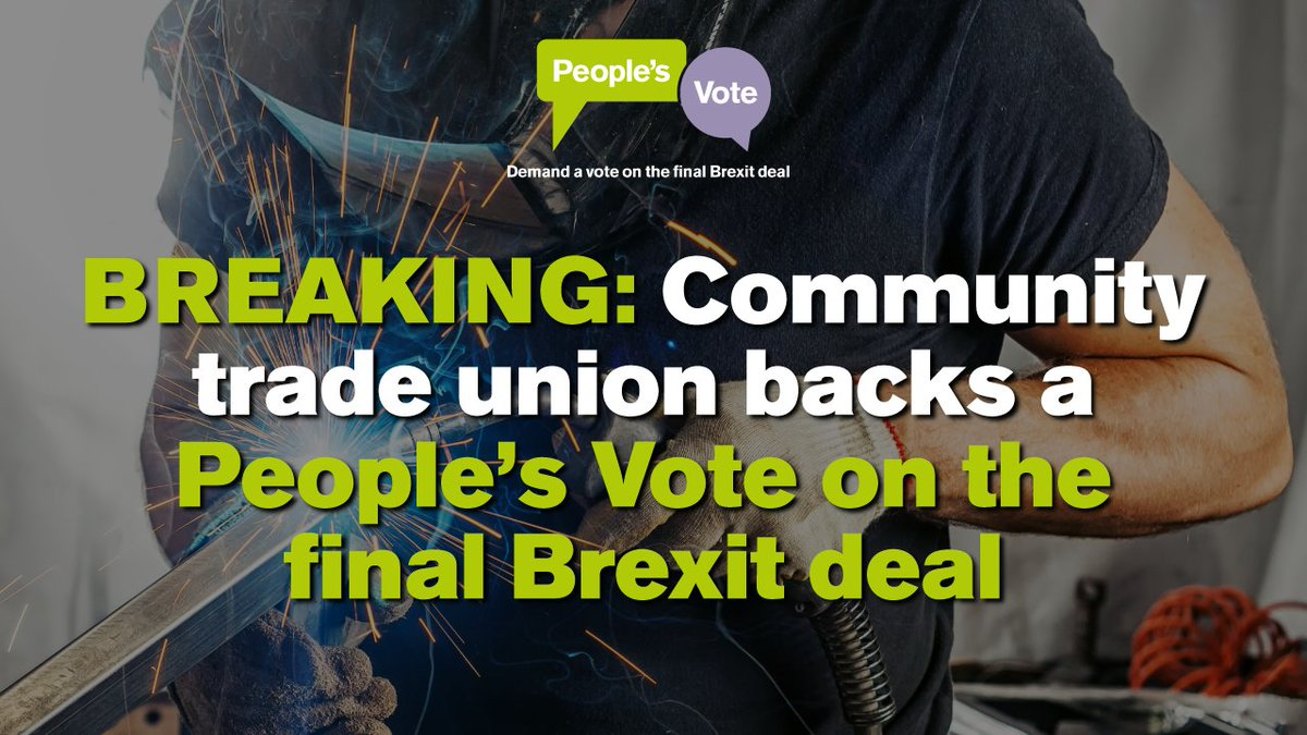 """READ: the trade union @communityunion - representing some 30k workers – calls on Theresa May to """"do the right thing"""" &amp; allow the British public a #PeoplesVote on the final Brexit deal  https://www. independent.co.uk/news/uk/politi cs/final-say-brexit-referendum-steel-union-peoples-vote-eu-uk-petition-a8494901.html &nbsp; … <br>http://pic.twitter.com/dAna7bhYIw"""