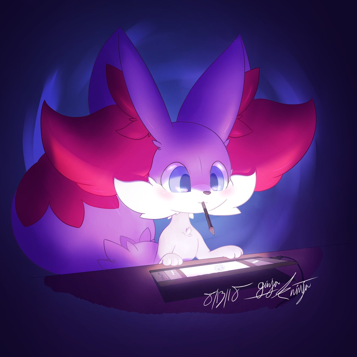 A little Fennekin who wants to be like her big brother and draw for people.   My little sister often walks in on my when I am drawing and live streaming. She says she wants to do it too and show people how she draws. ^^  #Pokemon #Art #GingyArt #Practice #Fennekin #ShinyPokemon<br>http://pic.twitter.com/Crl0h0nRBY