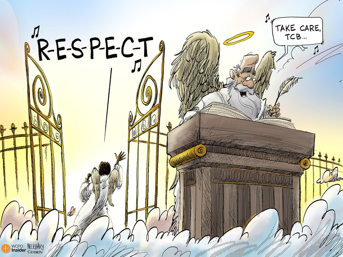 Editorial cartoonist Kevin Necessary pays tribute to Queen of Soul Aretha Franklin, who has died at the age of 76. https://t.co/HZHnxEHP6s  (Credit: @knecessary /WCPO)
