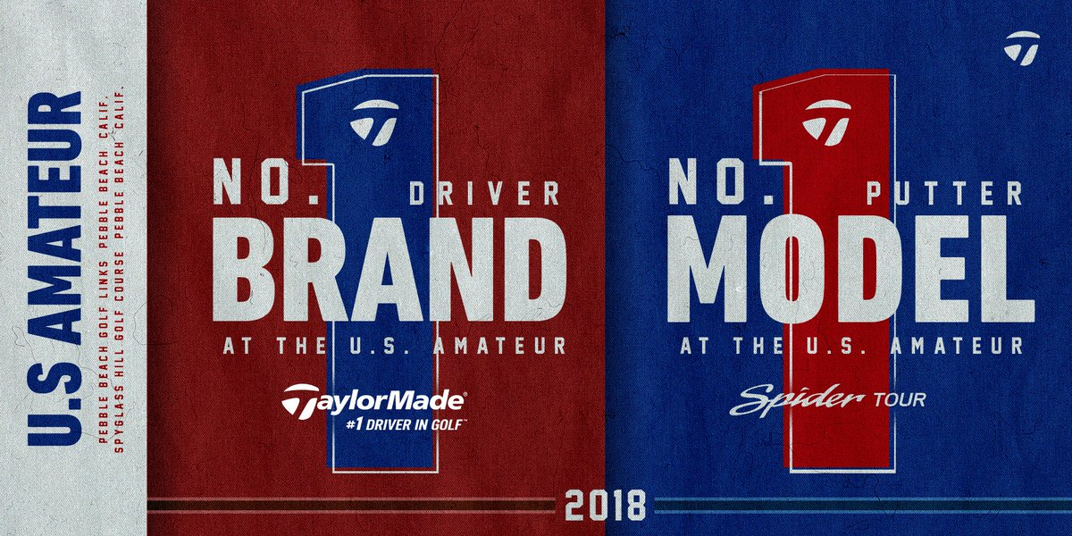 TaylorMade reigns as the top driver brand and top putter model as the nation's best amateurs compete for the 2018 #USamateur title. #TeamTaylorMade #TwistFace #SpiderTour