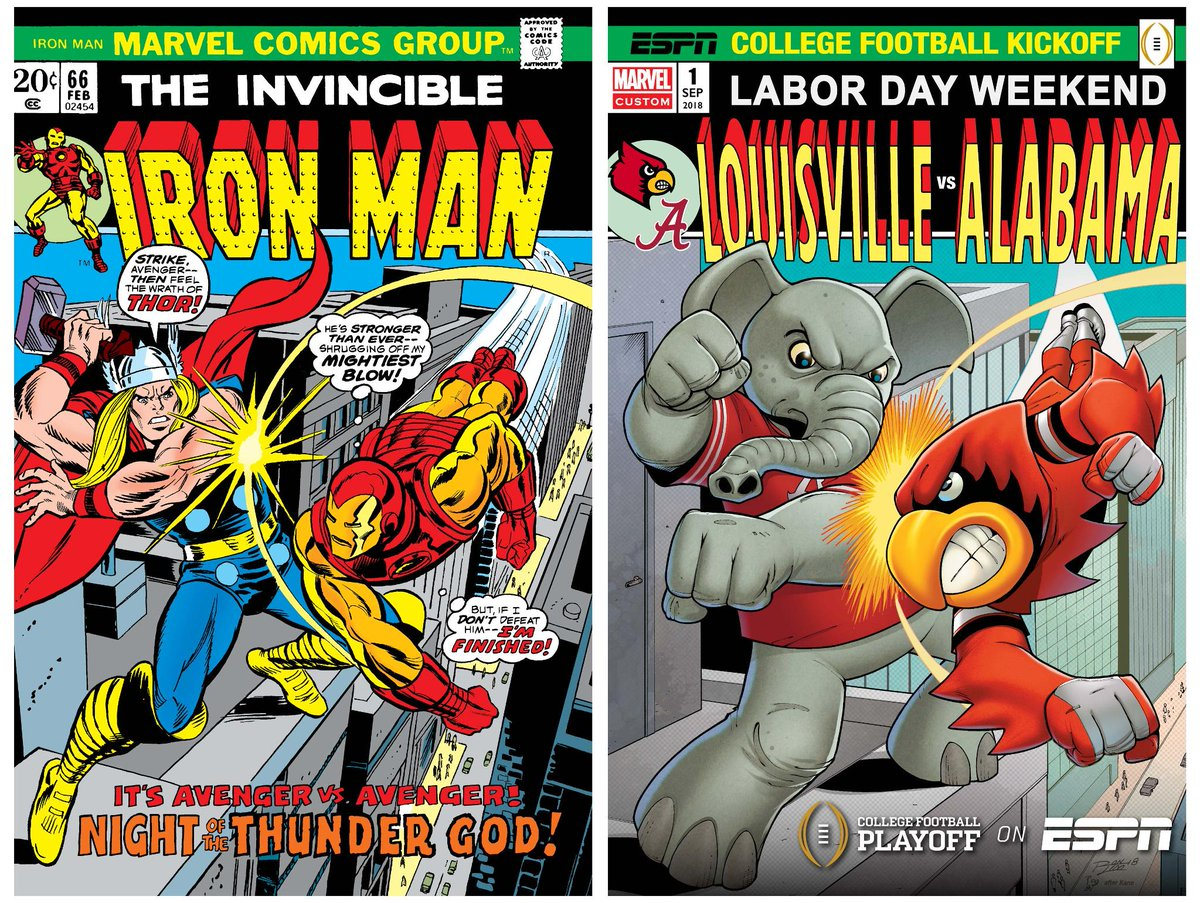 Here are the special edition College Football Playoff @Marvel custom comic covers with the originals they were inspired by!