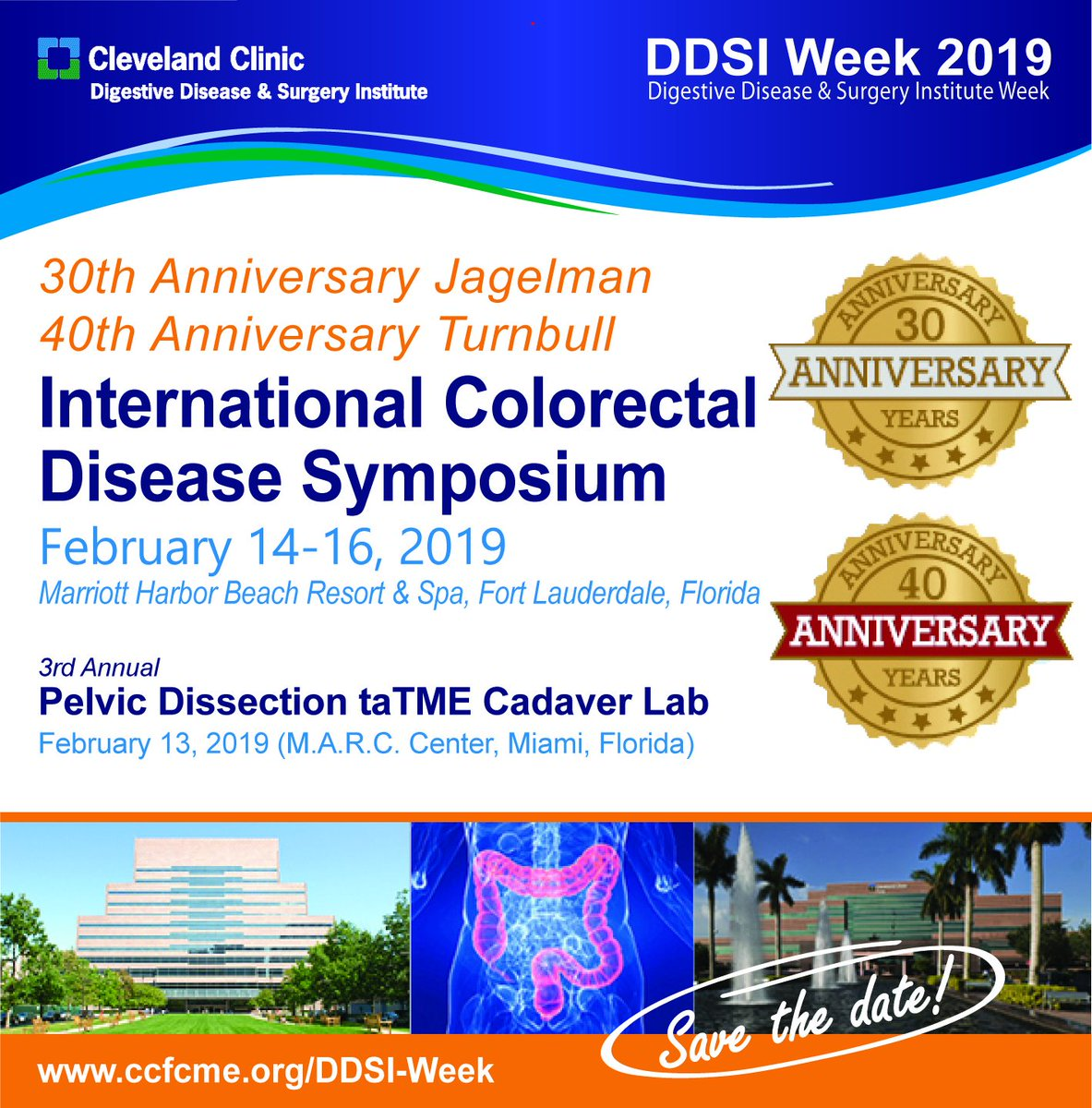 It&#39;s our Anniversary!  Save the date!  February 13-16, 2019.  Join us as we celebrate our alumni!   http://www. ccfcme.org/DDSI-Week  &nbsp;   #DDSIWeek19 #DDSIWeek #CCFCRS19 @SWexner @ScottRSteeleMD @ConorDelaneyMD @EAES_eu @SAGES_Updates @fascrs_updates @escp_tweets @taTMEsurgery<br>http://pic.twitter.com/zsJMOgrrDD