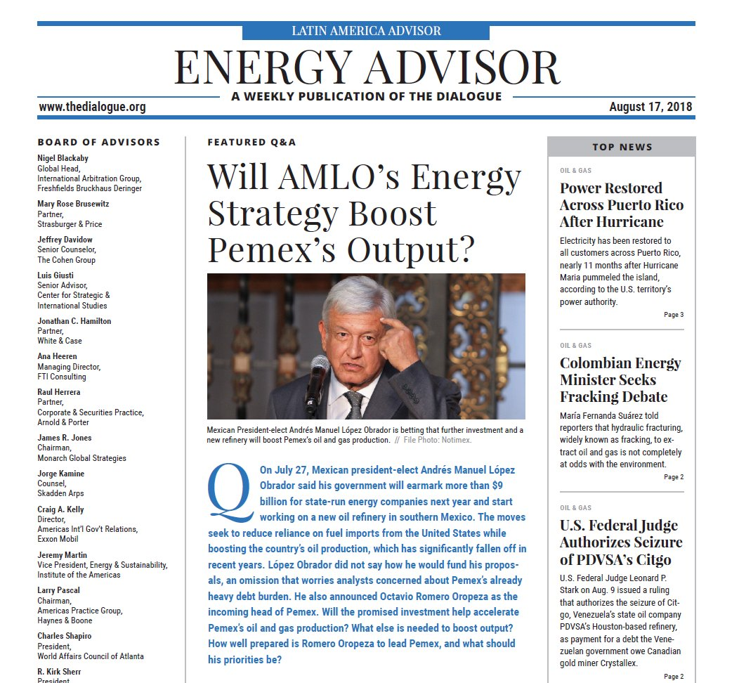 #AMLO has pledged to boost oil and gas production in #Mexico by investing in #Pemex and building a new refinery. Is that the right strategy?  @Energia_com, David Shields, @adlittle&#39;s Paola Carvajal and Luis Miguel Labardini comment in the #EnergyAdvisor   https:// bit.ly/2llj7bS  &nbsp;  <br>http://pic.twitter.com/R6FUmpam7I