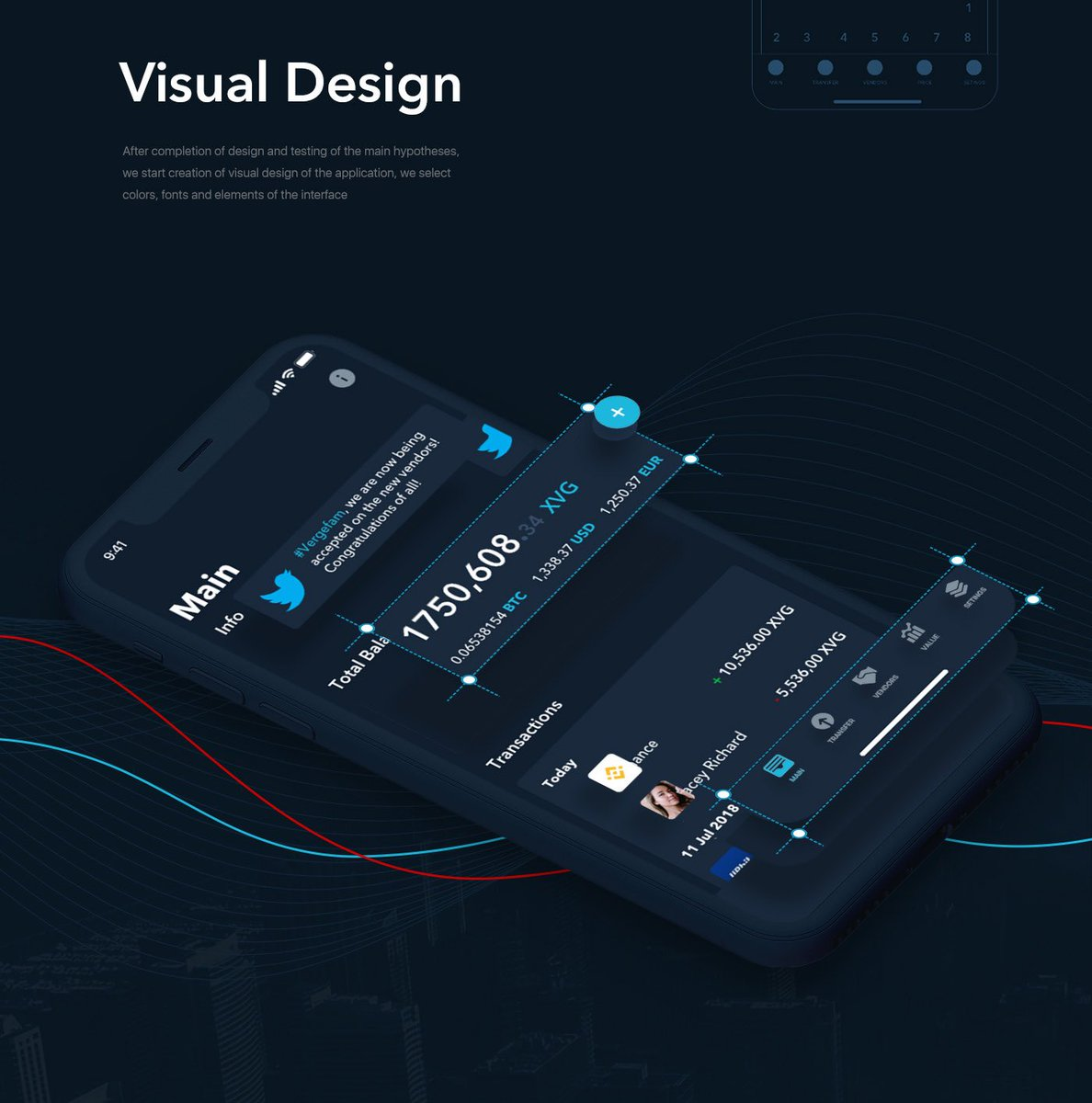 #Vergefam is awesome! Have you seen these mockups? Made by @grevcev_vadim   Awesome UX/UI designs for a #Verge iOS wallet!  $xvg @vergecurrency #crypto #community<br>http://pic.twitter.com/YnlaBBbrmJ