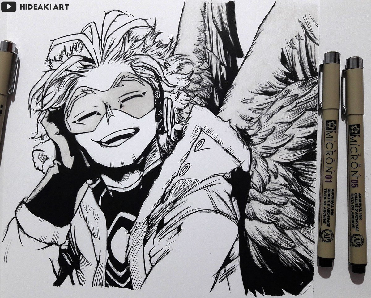 Hideaki Art On Twitter My Drawing Of Hawks From My Hero Academia