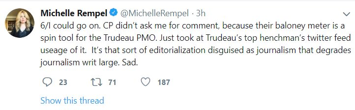 Michelle Rempel in 4 Tweets.  1) This is fake news. 2) Its fake news because they didn&#39;t call me. 3) I didn&#39;t want to be called anyways. 4) Na-na-na-na-nah, I cant hear you.  We have moved to the Fake News era for the Conservative Party of Canada. #cdnpoli #cdnmedia<br>http://pic.twitter.com/bEq6h1dB0V