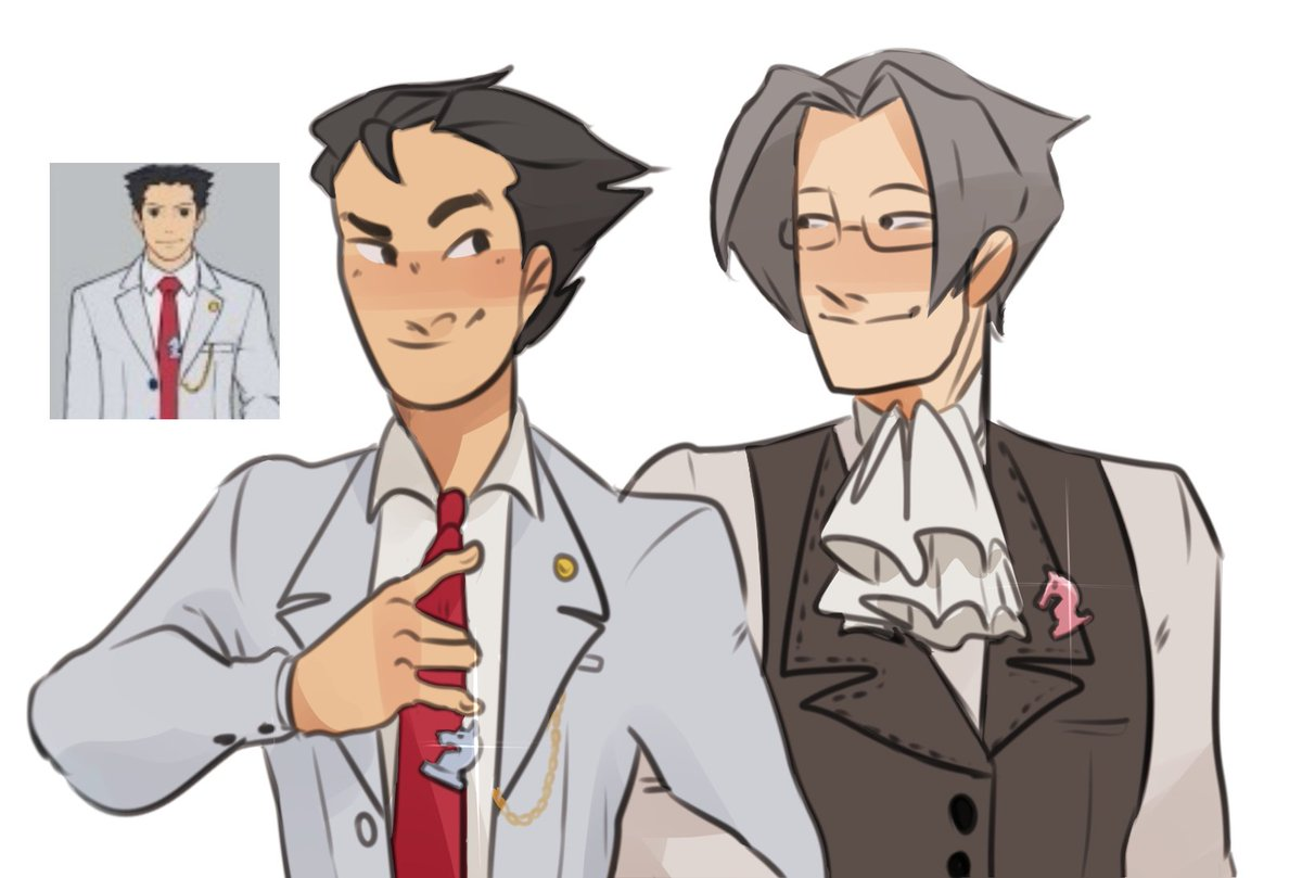 okay guys i came to an important realization thats not his lawyering suit thats a wedding suit edgeworth is wearing a matching chess piece, they are both knights and they are getting married ty capcom <br>http://pic.twitter.com/9dIA6TGf25