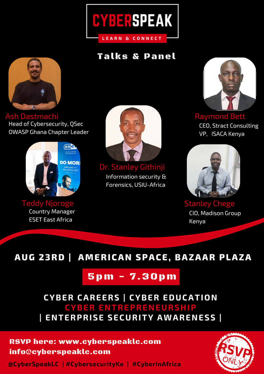 Nothing beats Cybersecurity After-Hours!  Come share, learn and know people - who you know matters, aye? Plus you&#39;ll get selfies with speakers, just saying! RSVP here:  https:// goo.gl/forms/ra5fWgY5 Y6bh3p4w1 &nbsp; …  #CyberInAfrica #CybersecurityKe @StractConsult @QSecGH @Teddy_Njoroge @mambo_sm <br>http://pic.twitter.com/LaRKIR3Ly9