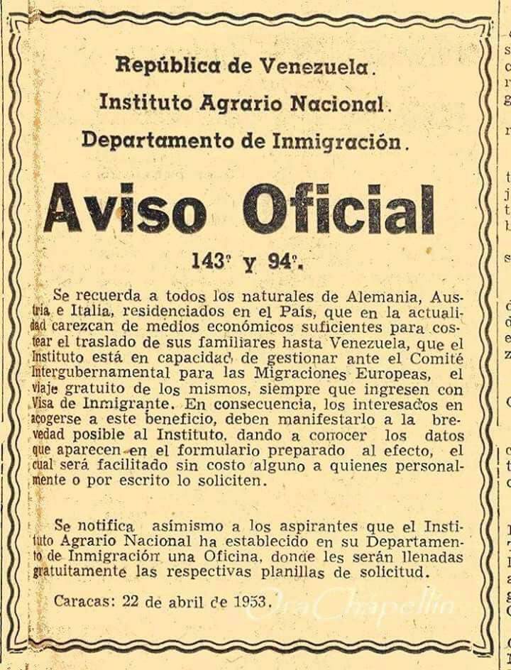 After WWII, then booming Venezuela offered to pay passage for destitute European immigrants, as this ad from 1953 attests. Now, the UN says 2.3 mln have fled the crisis-wracked OPEC nation, most of them for countries far less welcoming than Venezuela once was <br>http://pic.twitter.com/0ZXMi8FHRS