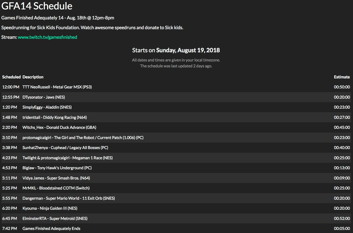 Hey everyone. If you didn&#39;t know, I also run Speedrun Events in Toronto. This coming Sunday is Games Finished Adequately. We are taking donations for Sick Kids. The schedule is listed so check out if your favourite games are being played. Catch the stream. Retweet if possible. <br>http://pic.twitter.com/VhA9TyeDmy