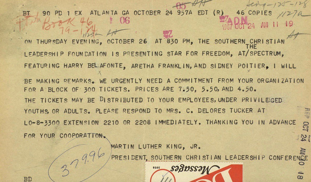 Sylvia herrera said that she will willingly accept any punishment martin luther king telegram invitation to 1967 fundraiser whose stars include aretha franklin stopboris Image collections