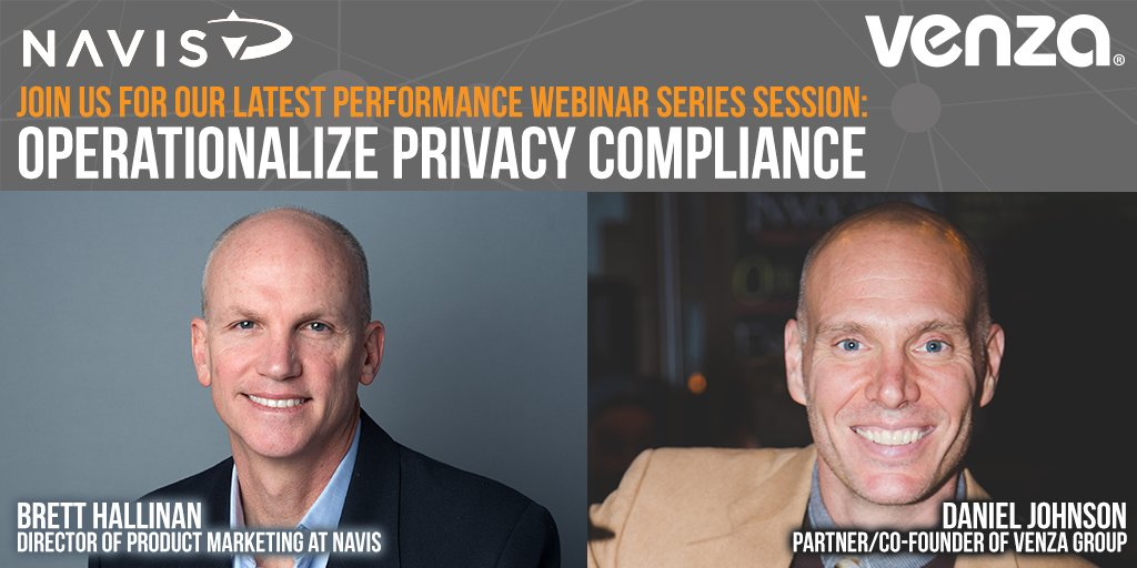 Join @NAVISway for our latest Performance Webinar Series Session: Operationalize Privacy Compliance. Discuss the steps needed to be taken today &amp; tomorrow to help you become compliant w/ privacy laws in the future. #GDPR @CAgovernment @caprivacyorg  http:// bit.ly/2OGlcJ1  &nbsp;  <br>http://pic.twitter.com/CDCrhACBT2