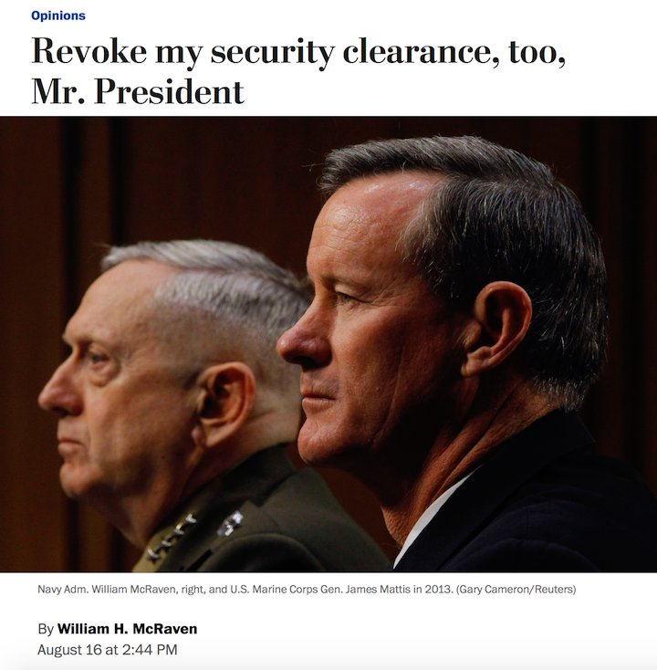 Retired Navy admiral William McRaven, who oversaw the raid that killed bin Laden: &quot;I&#39;d consider it an honor if you would revoke my security clearance too, so I can add my name to the list of men &amp; women who have spoken up against your presidency.&quot; #Maddow  https:// wapo.st/2OG8gCS?tid=ss _tw&amp;utm_term=.25411b6eeb58 &nbsp; … <br>http://pic.twitter.com/g7PbqtMOB9