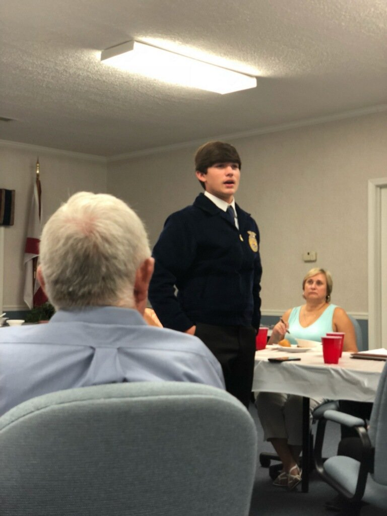 Lincoln High School Freshman, Trent Givens addresses the Talladega County Farmers Federation at tonight&#39;s Annual Meeting. #publicspeaking @AlfaFarmers @akeith4ua @The_Real_Hop @kknight @tcboecareertech<br>http://pic.twitter.com/D1VRPHrYUi