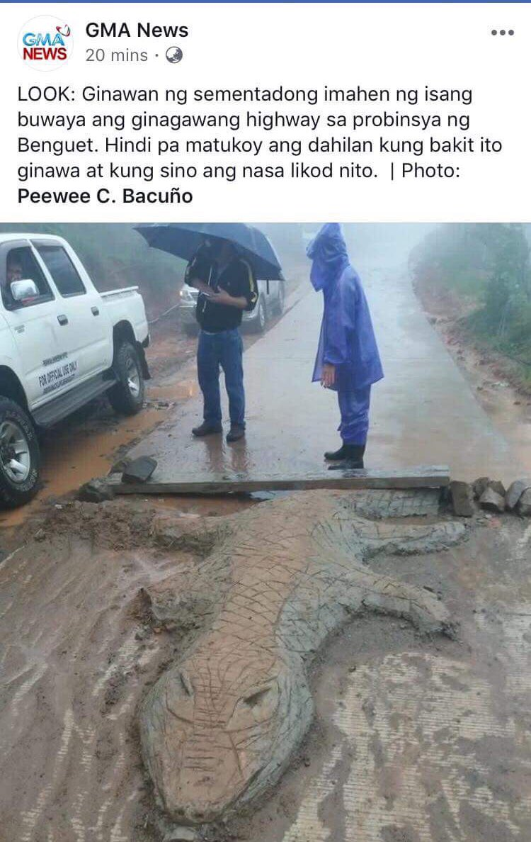 It's a tale as old as time. Gov't. officials and contractors  engage in corrupt practices resulting in substandard projects. The public is shortchanged.   This concrete crocodile is a sign of protest. This is resistance. <br>http://pic.twitter.com/OFANgreWEA