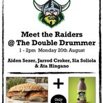 Come & say hi, take a selfie with a @raiderscanberra player from Captain @jarrodcroker or @kidceezar or Aidan Sezer or Ata Hingano at Double Drummer. Warning: may include best locally made flavoured milk ever! Choc Mint. You have been warned. It's on Mon 20th AUG @ 1pm - 2pm.