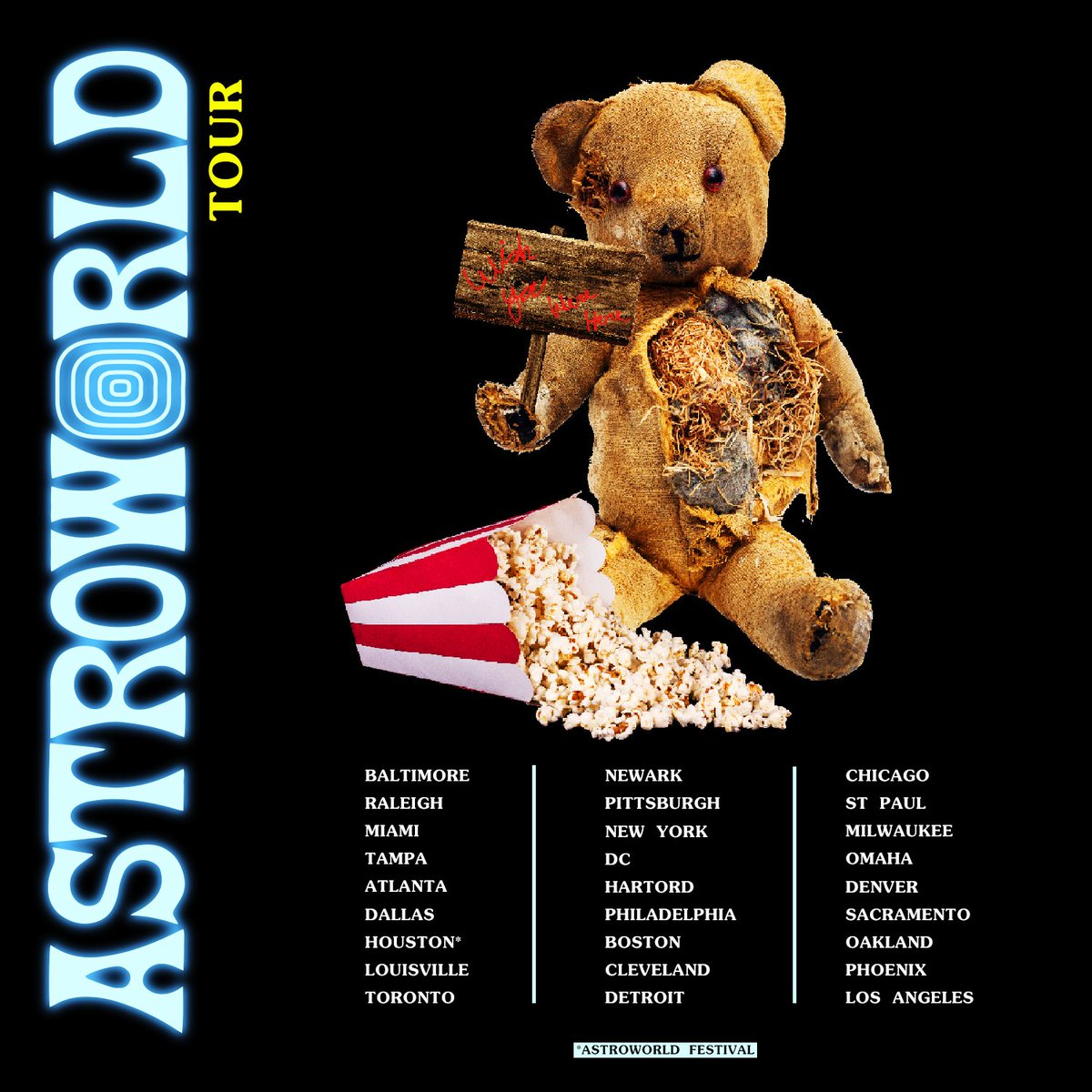 ASTROWORLD: WISH YOU WERE HERE TOUR !! PULLING UP EVERYWHERE THIS IS LEG ONE EUROPE AND OTHER CITIES COMING SOON !! 🎢 🍿🗺📍
