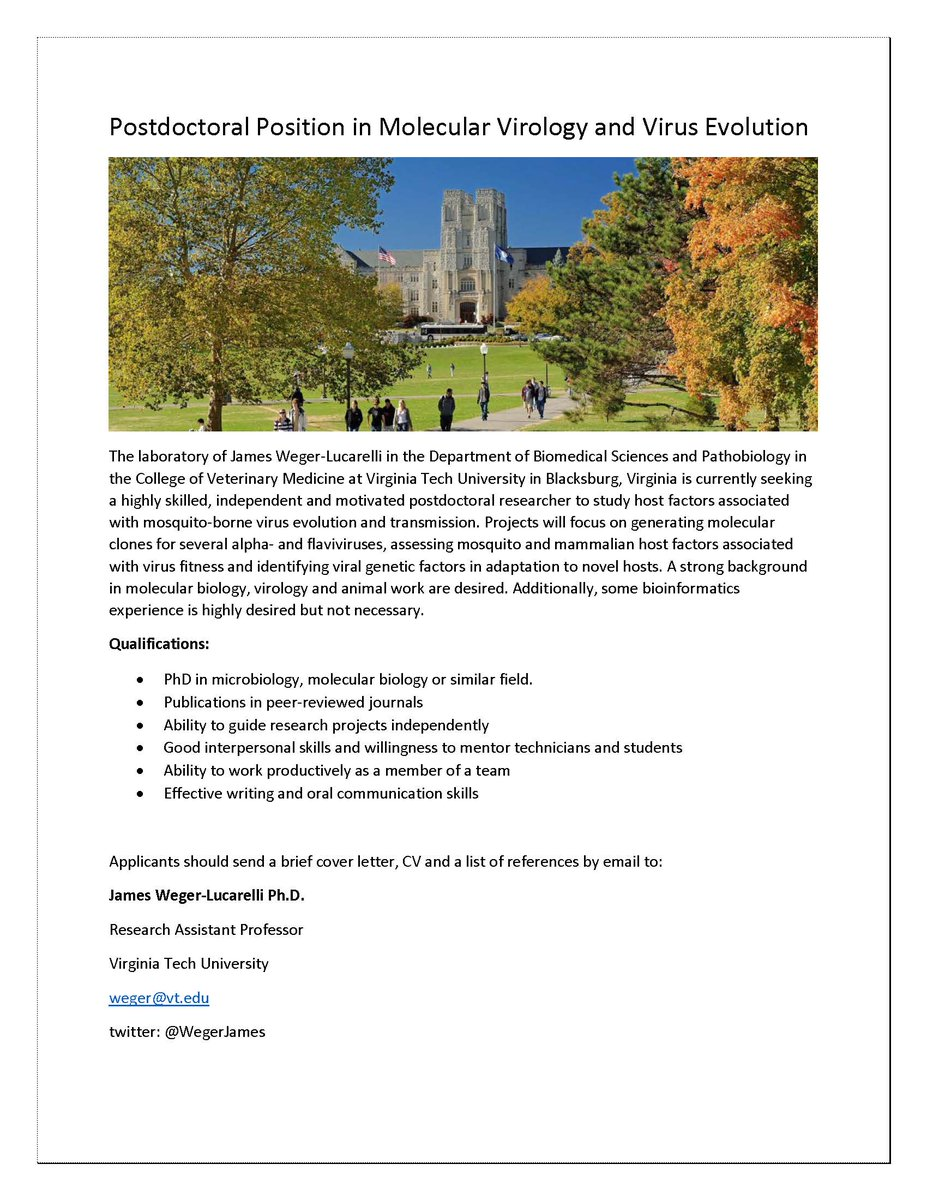 I am looking for a postdoctoral researcher in my lab at Virginia Tech University. Please see the attached job posting for additional details.   Please retweet or share with people who might be interested! Thank you! <br>http://pic.twitter.com/uin2o24vTF