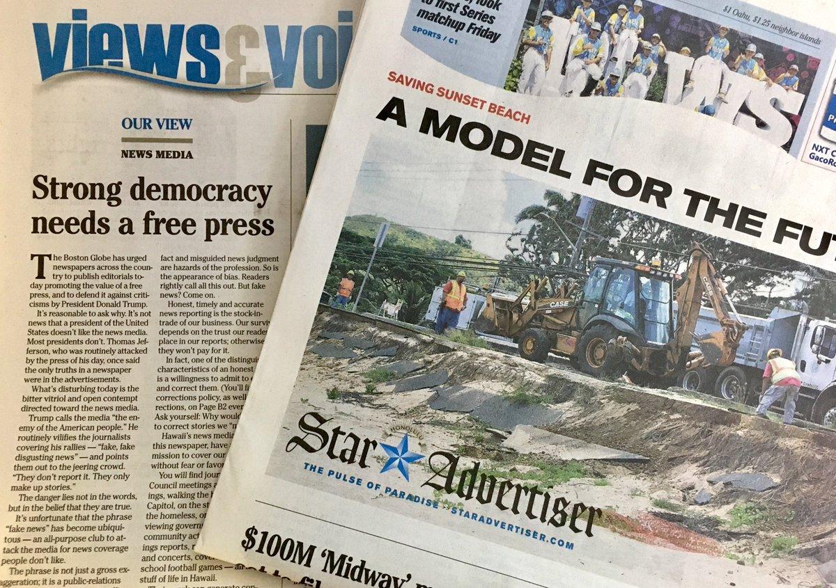 Editorial: Strong democracy needs a free press https://t.co/RCF1SviUk7 #Hawaii #freepress