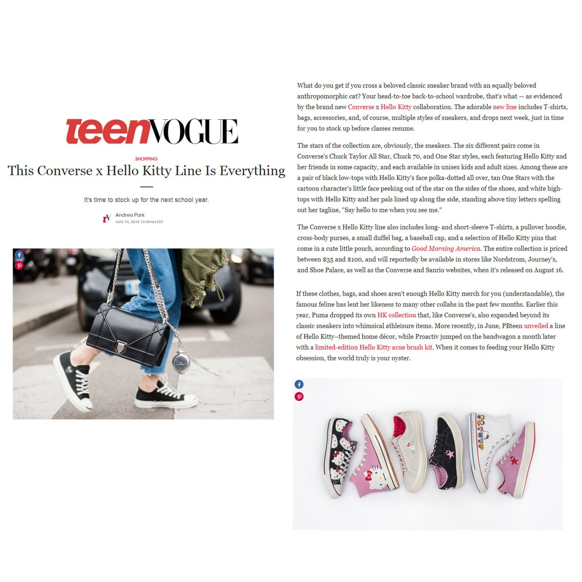 be4940e5b84c Check out some of the awesome coverage for  hellokitty x  Converse! The  collection is featured on a variety of outlets from  TeenVogue to ...