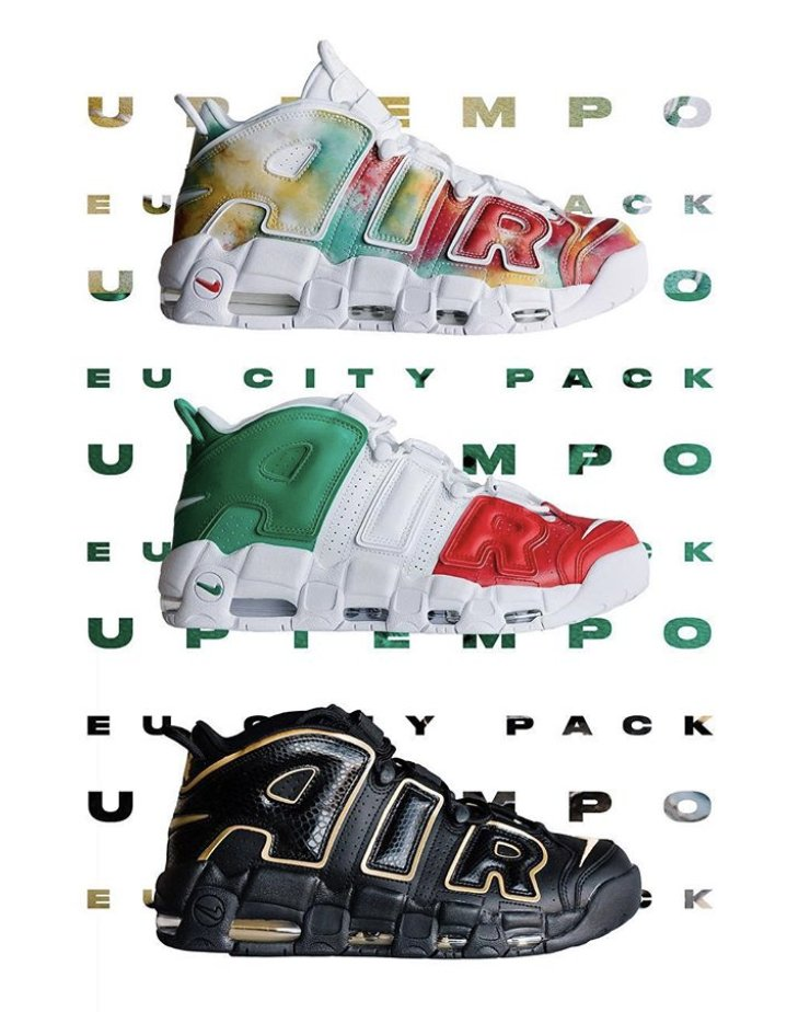 66daf00701 image may contain shoes; footlocker exclusive nike air more uptempo eu city  pack dropped ukhttp bit.ly 2oykijp italyhttp