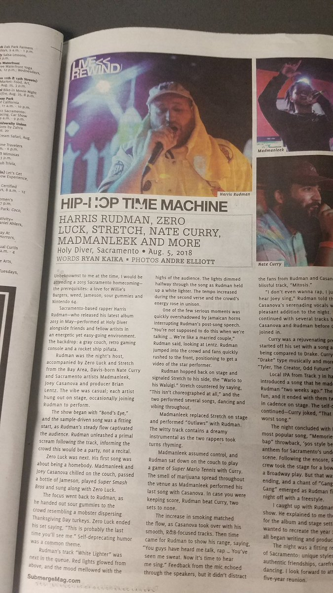 #Sacramento hip hop fans, check out the article I wrote about @HarrisRudman for @SubmergeMag on page 23. Pick up a copy at any of the Submerge drop boxes throughout Sac!<br>http://pic.twitter.com/TKUVpzXQCa