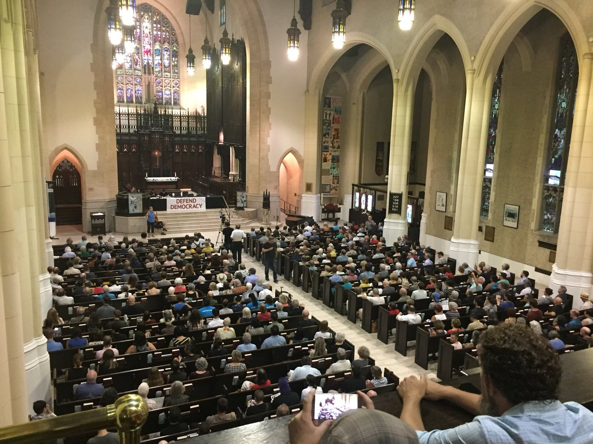 Another hot summer night, another overflowing Defend our Democracy Town Hall. Doug Ford may claim to be for the people, but in neighbourhood after neighbourhood, people are speaking out against his vindictive attack on the residents of Toronto. <br>http://pic.twitter.com/BNpY9vixOQ