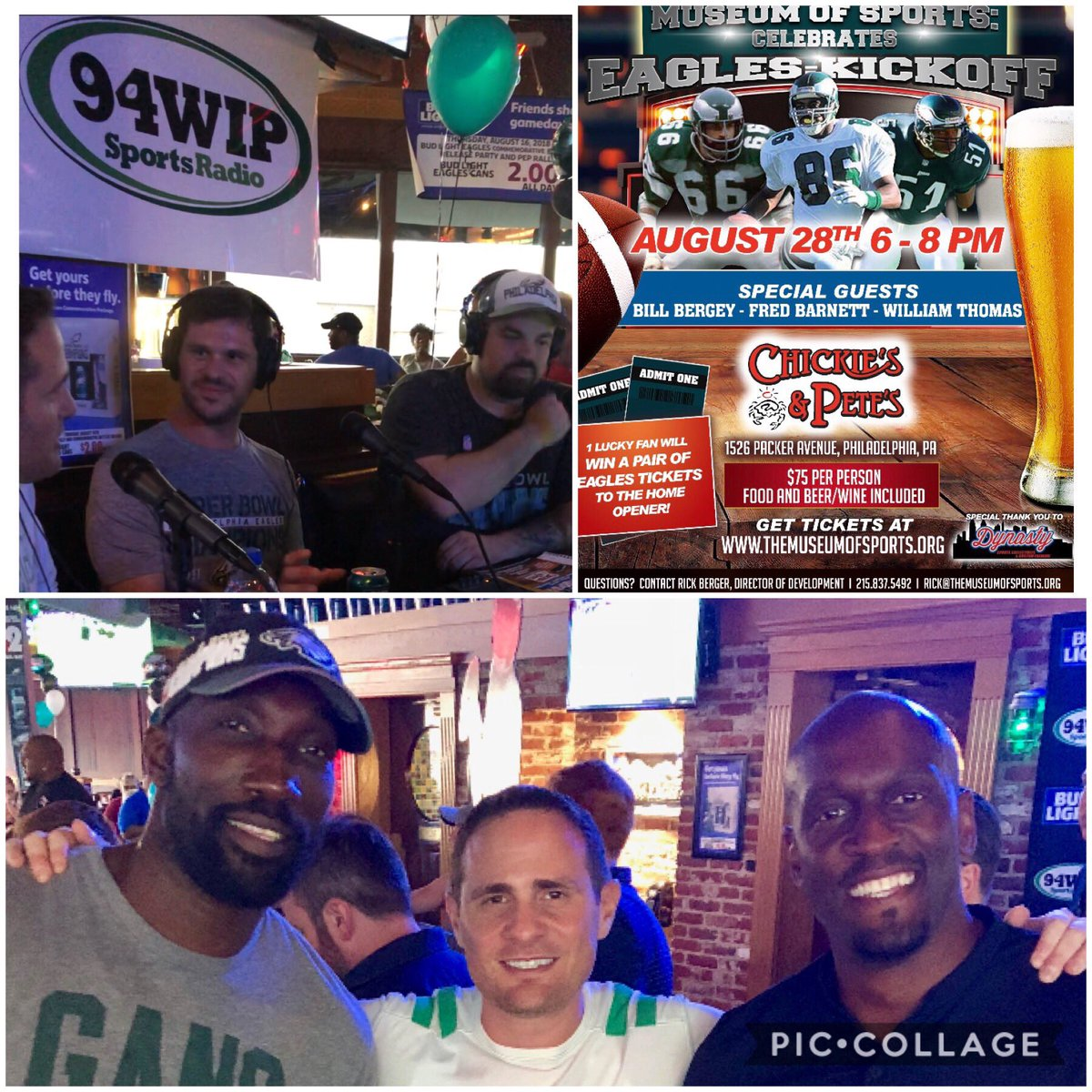 Great time promoting our upcoming event with @Ike58Reese, @SayGerv, @JohnBarchard,and @JamesSeltzer!  Special thanks to @ChickiesnPetes and @SportsRadioWIP!  Tix still available at https://the-museum-of-sports.ticketleap.com/eagles-kickoff/  #FlyEaglesFly
