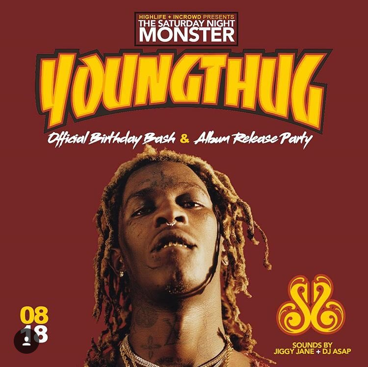 """Young Thug """"Slime Language"""" album release party and Birthday party this Saturday at SNS after his concert with J Cole  <br>http://pic.twitter.com/5iXnrkqUtd"""