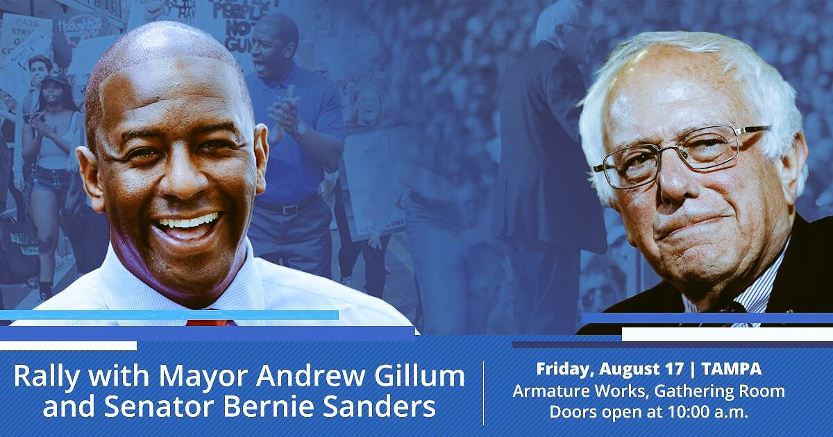 Signing off early tonight. I'm seeing @SenSanders &amp; @AndrewGillum in the morning   I'll have updates all day  If you are in Tampa join us  Visit:  http://www. andrewgillum.com  &nbsp;    #BringItHome #GillumAndBernie<br>http://pic.twitter.com/S3BqJBigSQ