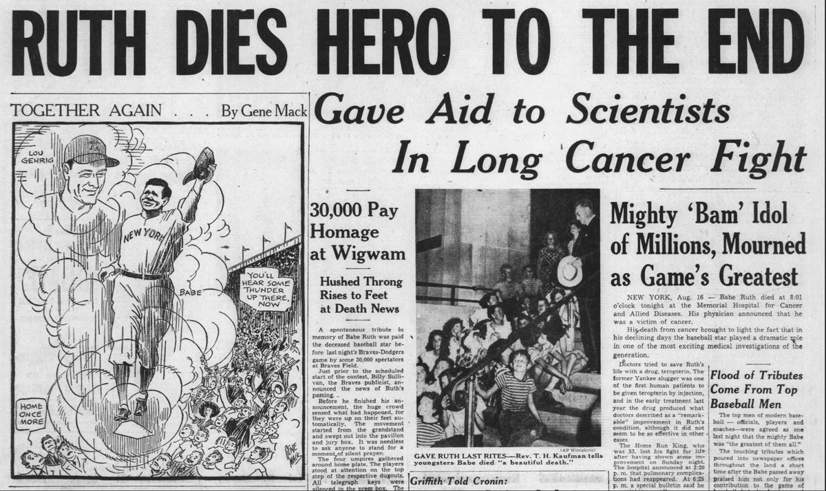 Newspapers Com On Twitter Baberuth Died From Cancer On This Day