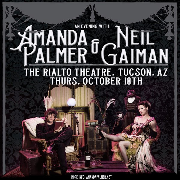 There's a presale for the Tucson EVENING WITH NEIL GAIMAN AND AMANDA PALMER on October 18th. Until midnight MST you can get tickets with the code word 'evening'.  https://t.co/YNooBdV3f4